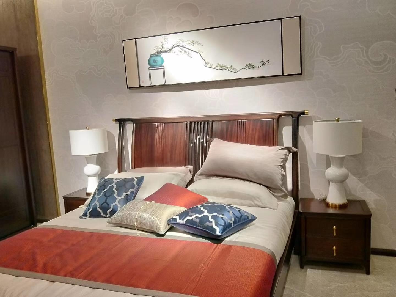 木杩新中式家具南亚花园蔡先生卧房床实景